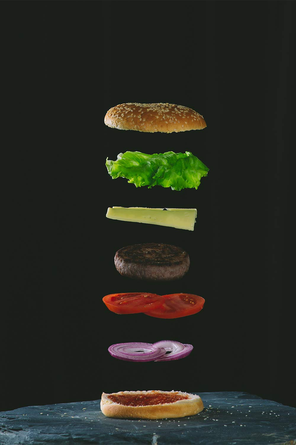 Surreal Food Photography of a burger